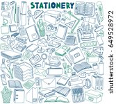stationery doodles set. school... | Shutterstock .eps vector #649528972