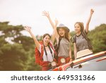 group of friends asian camp... | Shutterstock . vector #649531366