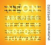 yellow neon character font set... | Shutterstock .eps vector #649531552