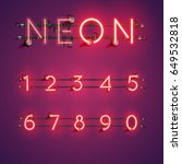 red neon numbers set on purple... | Shutterstock .eps vector #649532818