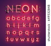 red neon character font set on... | Shutterstock .eps vector #649532848