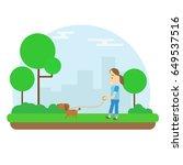 happy girl walking dog in green ... | Shutterstock .eps vector #649537516