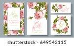 vector wedding invitations set... | Shutterstock .eps vector #649542115
