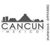 cancun skyline silhouette... | Shutterstock .eps vector #649543882