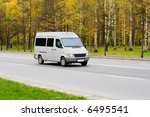 white blank shuttle bus van