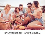 group of friends with guitar... | Shutterstock . vector #649565362