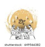 happy muslim family ramadan...   Shutterstock .eps vector #649566382