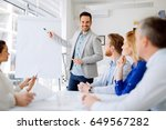 businesspeople collaborating in ... | Shutterstock . vector #649567282