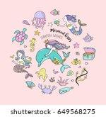 under the sea   little mermaid  ... | Shutterstock .eps vector #649568275