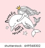 under the sea   little mermaid  ... | Shutterstock .eps vector #649568302