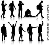 set black silhouettes of... | Shutterstock .eps vector #649568986