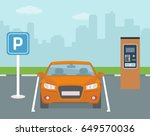 parking place with one car and... | Shutterstock .eps vector #649570036