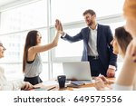 high five  two cheerful young... | Shutterstock . vector #649575556