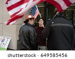 Small photo of PORTLAND, OREGON MARCH 06 2017, David Fry, acquitted defendant in the first trial of the occupation of the Malheur Wildlife Refuge with others protesting the second trial.