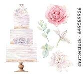 watercolor wedding cake... | Shutterstock . vector #649589926