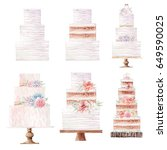 watercolor wedding cake... | Shutterstock . vector #649590025