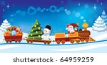 santa claus in a toy train with ... | Shutterstock .eps vector #64959259