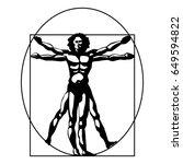 vitruvian man silhouette... | Shutterstock .eps vector #649594822