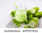 healthy green smoothie in jar... | Shutterstock . vector #649597612