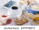 healthy breakfast including... | Shutterstock . vector #649598872