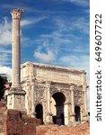 septimius severus arch. the... | Shutterstock . vector #649607722