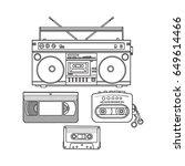 retro style audio cassette ... | Shutterstock .eps vector #649614466
