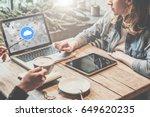 teamwork two young women... | Shutterstock . vector #649620235