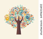 isolated tree made of colorful... | Shutterstock .eps vector #649631602
