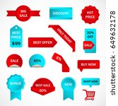 vector stickers  price tag ... | Shutterstock .eps vector #649632178
