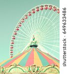 vintage ferris wheel and... | Shutterstock . vector #649633486