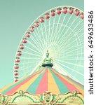 vintage ferris wheel and... | Shutterstock . vector #649633486