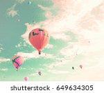 vintage hot air balloons in... | Shutterstock . vector #649634305