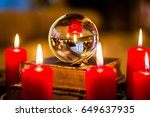Small photo of Crystal ball to prophesy or esoteric clairvoyance during a Seance in the candle light