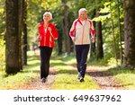 senior couple doing sport... | Shutterstock . vector #649637962
