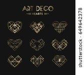 set of art deco geometric... | Shutterstock .eps vector #649642378