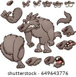 cartoon wolf dog with different ... | Shutterstock .eps vector #649643776
