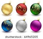 Set Of Christmas Balls On Whit...