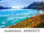 perito moreno glacier panoramic ...   Shutterstock . vector #649655275