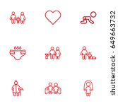 set of 9 family outline icons... | Shutterstock .eps vector #649663732