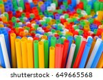 colorful plastic drinking... | Shutterstock . vector #649665568