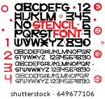 stencil font with four types of ... | Shutterstock .eps vector #649677106