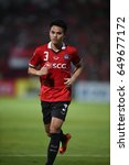 Small photo of BANGKOK-THAILAND-23may,2017:Theerathon boonmatan[r] player of SCG muangthong in action during AFC competition between MTUTD and kawasaki frontale at SCG Stadium,Thailand