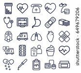 healthcare icons set. set of 25 ... | Shutterstock .eps vector #649679206