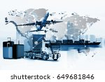 container truck  ship in port... | Shutterstock . vector #649681846