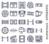 cinema icons set. set of 25... | Shutterstock .eps vector #649683442