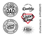 set for father's day. hand... | Shutterstock .eps vector #649688695
