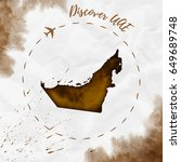 uae watercolor map in sepia... | Shutterstock .eps vector #649689748