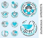 peace outline blue icons love... | Shutterstock .eps vector #649690576