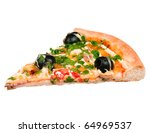 Cut Off Slice Pizza Isolated O...