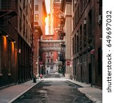 new york city street at sunset... | Shutterstock . vector #649697032